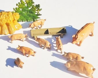 Vintage Farm / JoHillco  / Pastural Tabletop Landscape / Boar, Sow,7 piglets, trough, hay and small shrubbery