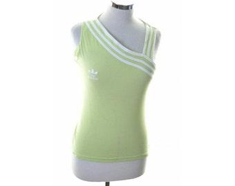 Adidas Womens Top T-Shirt Sleeveless Size 16 Large Green Cotton