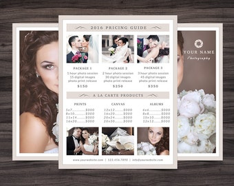 """Photography Pricing Guide Template for Photoshop 001 - 8.5"""" x 11"""" Price Sheet - Photographer Template - Photography Template"""