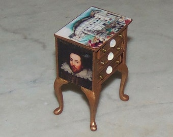 1:12th Dollhouse Cabinet. Shakespeare Theme. Three Drawers.  Burnished Gold.