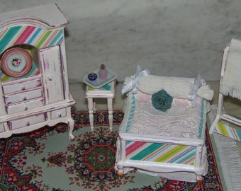 Price Includes Complete Bedroom Set.  1:12th Dollhouse. White  with a touch of Pink and Aqua. Shabby Chic. Cottage.