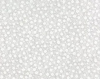 White Flowers on Gray - Sew and Sew Fabric from Moda