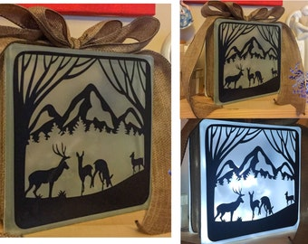 Deer & Stag Nightlight, Mountain Glass Light block, Personalised or Personalized Keepsake Gift (with Ribbon n Colour Choices)