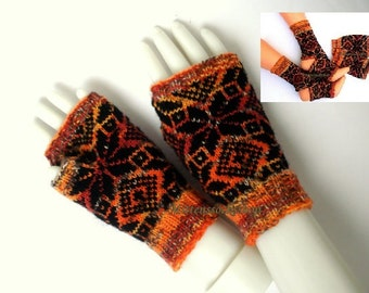 Orange Black Hand Knitted Fingerless Gloves Patterned Arm Warmers Texting Gloves Wool Mittens Driving Gloves Hand Warmers Wrist Warmers Gift