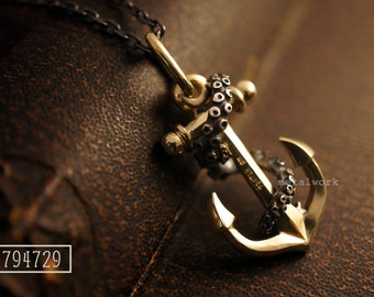 MW P1005 The 9K Gold Anchor with octopus tentacle Pendant