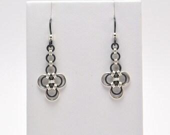 Japanese Earrings in Black Niobium and Sterling Silver