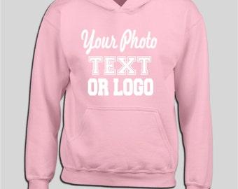 personalised light pink hoody sweater sweatshirt custom printed