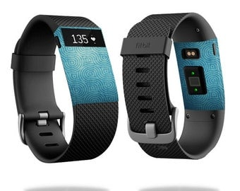 Skin Decal Wrap for Fitbit Blaze, Charge, Charge HR, Surge Watch cover sticker Blue Swirls