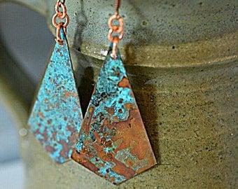 Turquoise earrings, patina earrings, copper earrings, copper jewelry, verdigris earrings, gypsy earrings, long earrings, geometric earrings