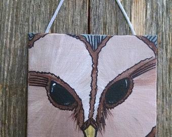 Mini Acrylic Painting of a Barn Owl