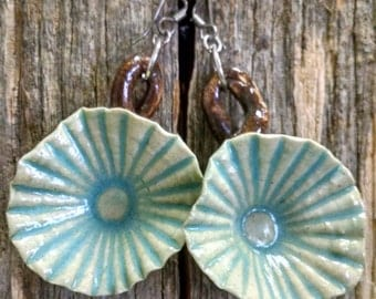 Turquoise ceramic pottery flower shell earrings