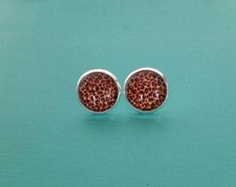12mm Leopard Studs- Leopard Earrings