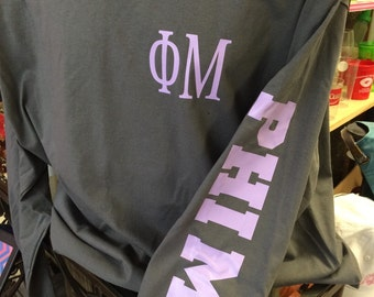 Custom Phi Mu Sorority name printed on left sleeve of a comfort colors long sleeve shirt!