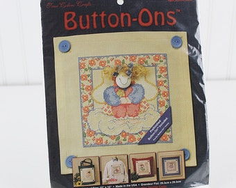 Button-Ons Some Days are Better Counted Cross Stitch Kit,  Prefinished Buton-On Included, K186