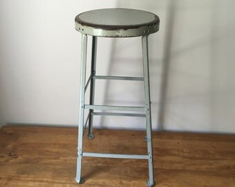 "Vintage industrial 30"" steel stool in battleship grey 9 available"