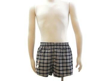 Vintage Mens Swim Trunks 50s Swimsuit Navy Plaid Cotton Shorts NOS Dan River M  L