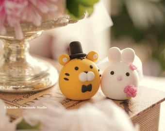 Tiger and  rabbit wedding cake topper---Chiness Zodiac wedding cake topper