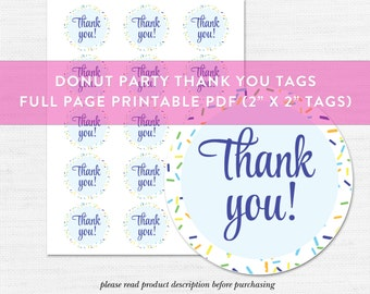 Donut Party Thank You Tag Printable, Donut Party, Instant Download Party Printable, Blue Donuts, Sprinkles, DIY Party Print, Instant