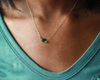 Gold Emerald Necklace, May Birthstone Necklace, Bridesmaid Necklace, Green Emerald Pendant, Gold Necklace, Stone Necklace, Gemstone Necklace