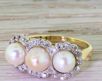 Art Deco Natural Pearl & Old Cut Diamond Triple Cluster Ring, circa 1925