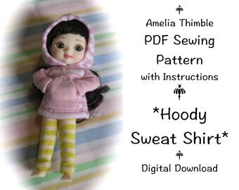 PDF Hoody Sweatshirt Sewing Pattern for mini BJD Amelia Thimble