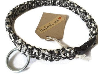 Black & White Dog Collar - handmade paracord puppy collar