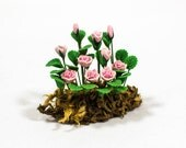 Beautiful Pink Roses Plant Miniature For Your Fairy Garden, Dollhouse Garden, Flower Lovers, Pink Roses, Polymer Clay Roses