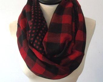 Plaid scarf, infinity scarf, blanket scarf red, chunky scarf, winter scarf, cowl scarf, circle scarf, infinity blanket scarf