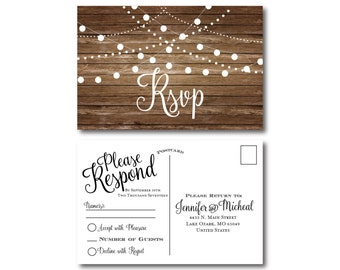 Rustic Wedding RSVP Postcard, Country Chic, Hanging Lights, Fall Wedding, Rustic Wedding, RSVP Postcard, Wedding Postcard, RSVP #CL101