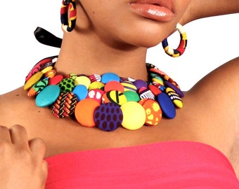 African Print V -Neck Button Necklace