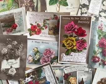 Lot of 1900s Rose Antique Postards and Ephemera 16 Items Scrapbooking Altered Art Victorian Vintage Floral Flowers Roses