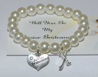 will you be my junior bridesmaid - jr bridesmaid gifts - bridesmaid proposal - ask jr bridesmaid - bride tribe - handmade bracelet