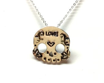 Sterling Silver Sugar Skull Pendant with Chain C01