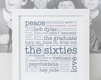 50th Birthday Print; Personalised 50th Birthday Gift; The 1960s; Born 1966; You're 50 Gift; PAP004