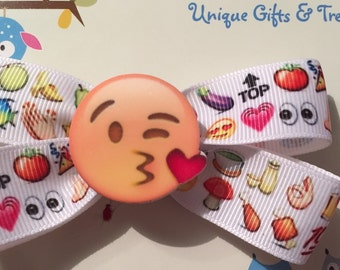 Emoji Hair Bow With Resin Center