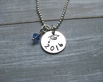 Graduation Necklace Sterling Silver Personalized Jewelry Hand Stamped Graduation Cap Graduation Jewelry Graduate Gift Teen Gift Idea