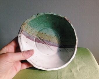 Green/Pink/White Ceramic Bowl