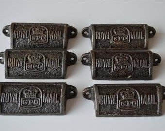 A set of 6 vintage style cast iron Royal Mail GPO drawer pulls GPO