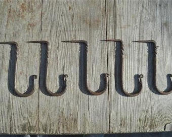 Set of 5 large twisted wrought iron medieval hanging hooks dresser hook MM3