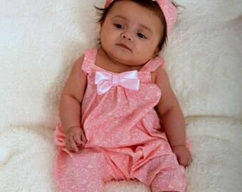 baby girls pink romper jumpsuit dungerees headwrap / headband