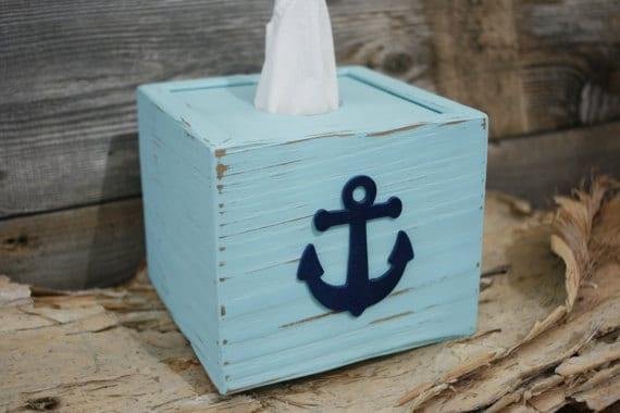 Cube tissue box kleenex cover nautical naturally aged - Beach themed tissue box cover ...