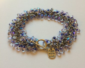 Beaded chainmaille bracelet - Shaggy bracelet in purple lined crystal