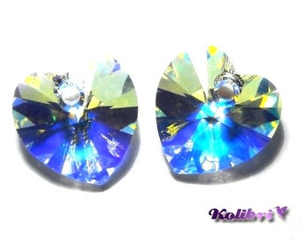 2x Swarovski Heart (6202) 10x10 mm - Crystal AB