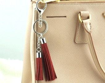 White K Tassel Keychain, Gifts for Girlfriend, Accessory,Leather Tassel Tassel Keyring,Christmas Gift Idea Bag Charm Two tassels-S257