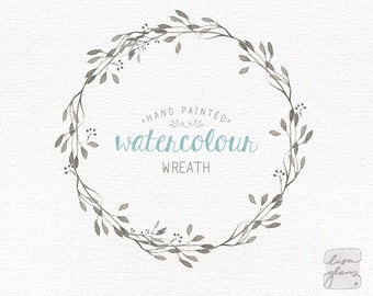Watercolor wreath: hand painted floral wreath clipart / Wedding invitation clip art / commercial use / CM0057a