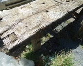 Antique old shabby chic long industrial urban planked timber workbench great for kitchen prep unit