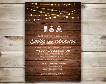 Wedding Invitation Template - Printable Wedding Invitation - DIY Rustic Invitation Template - Instant Download  - String Lights Collection