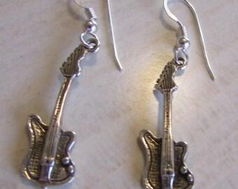 Sterling Silver Dangle Wire Guitar Earrings