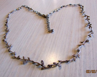 Delicate Sterling Silver Link Necklace with CZs in Three Front Links