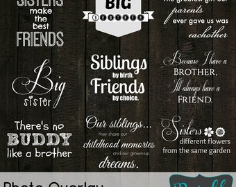 INSTANT Download Sibling Collection... 9 Quote Overlays